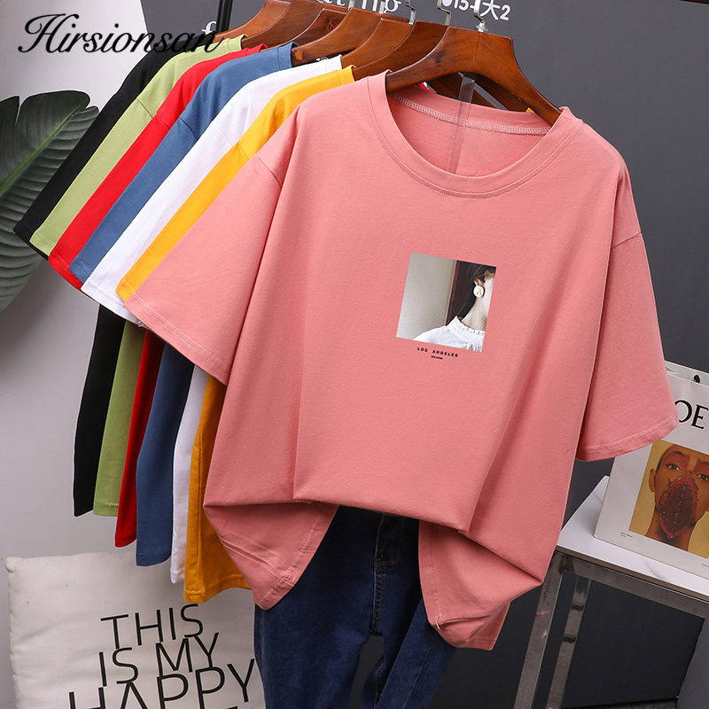 Hirsionsan Printed T Shirt Women Summer Hot O Neck Tshirts Korean Aesthetic Cotton Tees For Ladies Ins Comfortable Female Tops