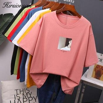 Hirsionsan, camiseta para mujer impresa, camisetas de verano de cuello redondo, camisetas coreanas de algodón estéticas para mujeres, Tops cómodos Ins para mujeres