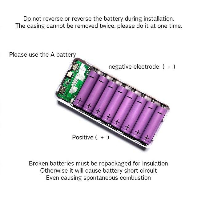 QC 3.0 szybkie ładowanie powerbank usb power bank LED cyfrowy świetlny wyświetlacz 8*18650 obudowa ładowarki dla wszystkich smartfonów
