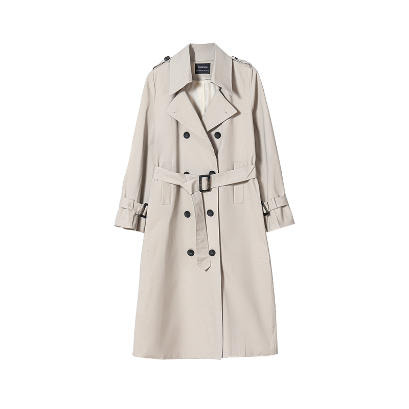 Hf28192eb679b4ecab823f44bb674e4b8e Toppies 2021 Spring Long Trench Coat Women Double Breasted Slim Trench Coat Female Outwear Fashion Windbreaker