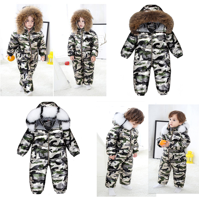 2020 Boy Baby Jacket 80% Duck Down Outdoor Infant Clothes Girl Boys Kids Jumpsuit 2~5y Russian Winter Snowsuit warm baby clothes 2