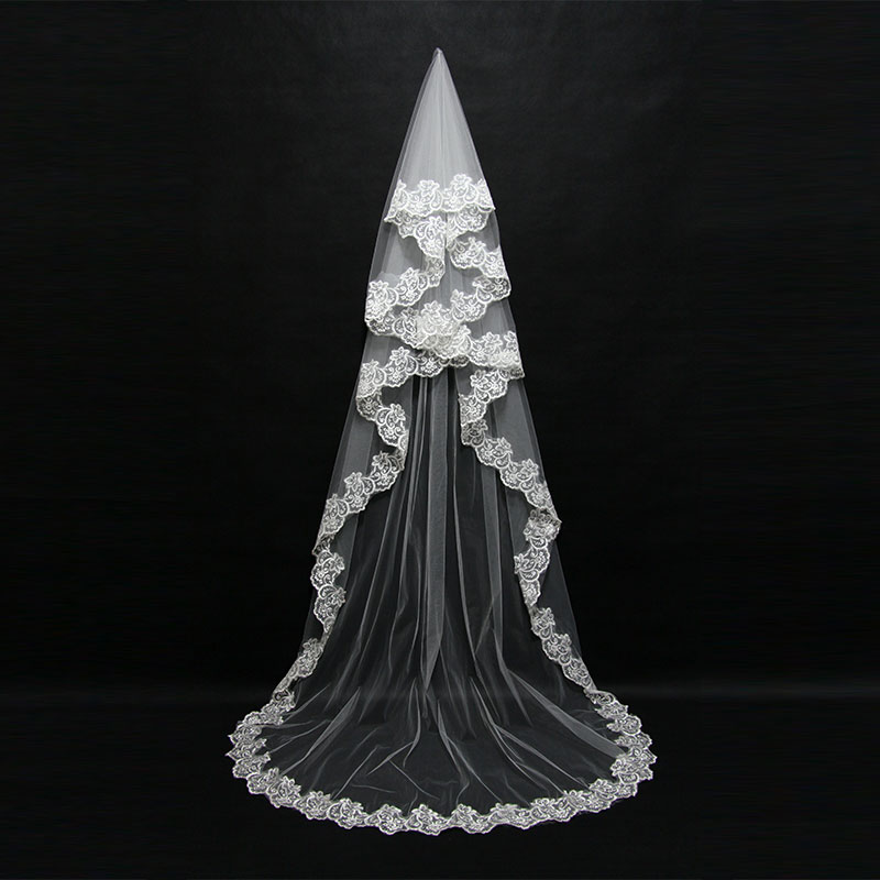 2019 Mariage 3M One Layer Lace Edge White Ivory Catherdal Wedding Veil Long Bridal Veil Cheap Wedding Accessories Veu De Noiva