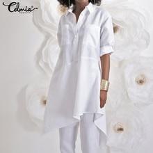 Fashion White Shirts Celmia Women Asymmetrical Tops 2021 Autumn Long Sleeve Blouse Casual Loose Buttons Plus Size Blusas Mujer