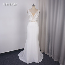 Sheath Wedding Dress with Illusion Back Lace Appliqued Chiffon Bridal Gown Custom Make