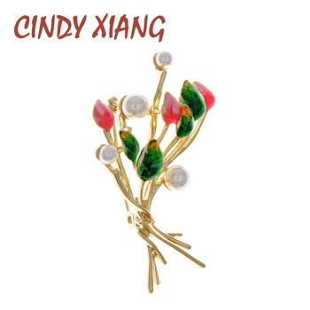 CINDY XIANG Pearl Flower Brooches For Women Enamel Pin Brooch Fashion Elegant Jewelry New Design High Quality real natural pearl brooch for women pearl brooch fashion jewelry classic charm high quality accessories pin