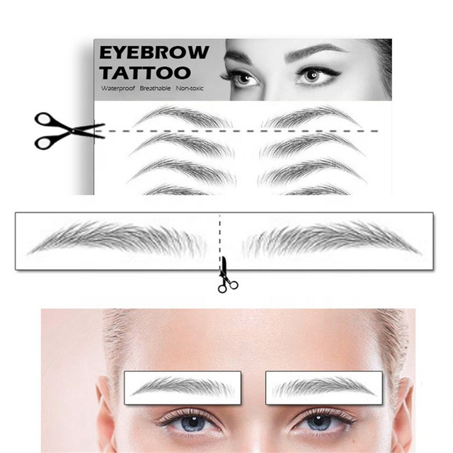 Magic False Eyebrows 4D Hair-like Eyebrow Tattoo Sticker Waterproof Lasting Makeup Water-based Eye Brow Stickers Cosmetics 1