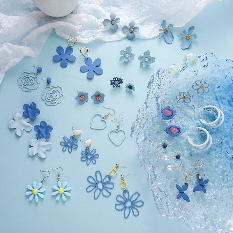 Корейские синие висячие серьги, модные ювелирные изделия 2020 для женщин и девушек, простые геометрические серьги, серьги, украшения для женщ...