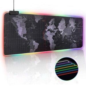 Игровой коврик RGB для мышки и клавиатуры, большой компьютерный коврик XXL со светодиодной подсветкой