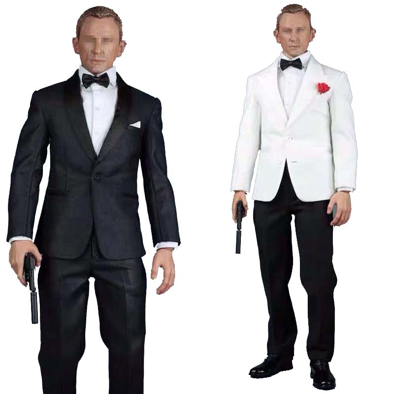 <font><b>1/6</b></font> Scale james bond 007 Man's suit Clothing Set Royal agents with jacket Pants Shirt <font><b>Belt</b></font> Shoes A014 for 12in Action Figure Toy image