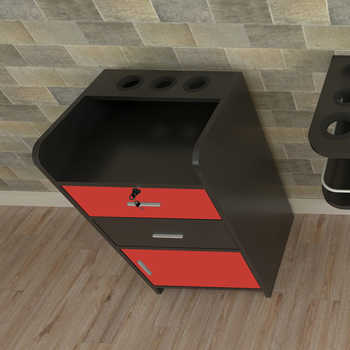 43 x 35 x 79cm 2 Pumping a Beauty Salon Side Table Black & Red beauty salon wall - mounted beauty table US warehouse