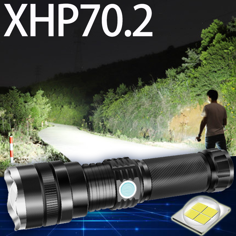 XHP70.2 Powerful LED Flashlight Zoomable Super Light Torch Rechargeable Battery Waterproof Lamp Ultra Bright Lantern For Fishing