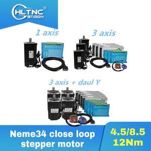 Image 1 - CNC Nema34 close loop 4.5Nm 8.5Nm 12Nm stepper motor +HBS860H Hybrid driver+400w60v power supply +MACH3 controller board for CNC