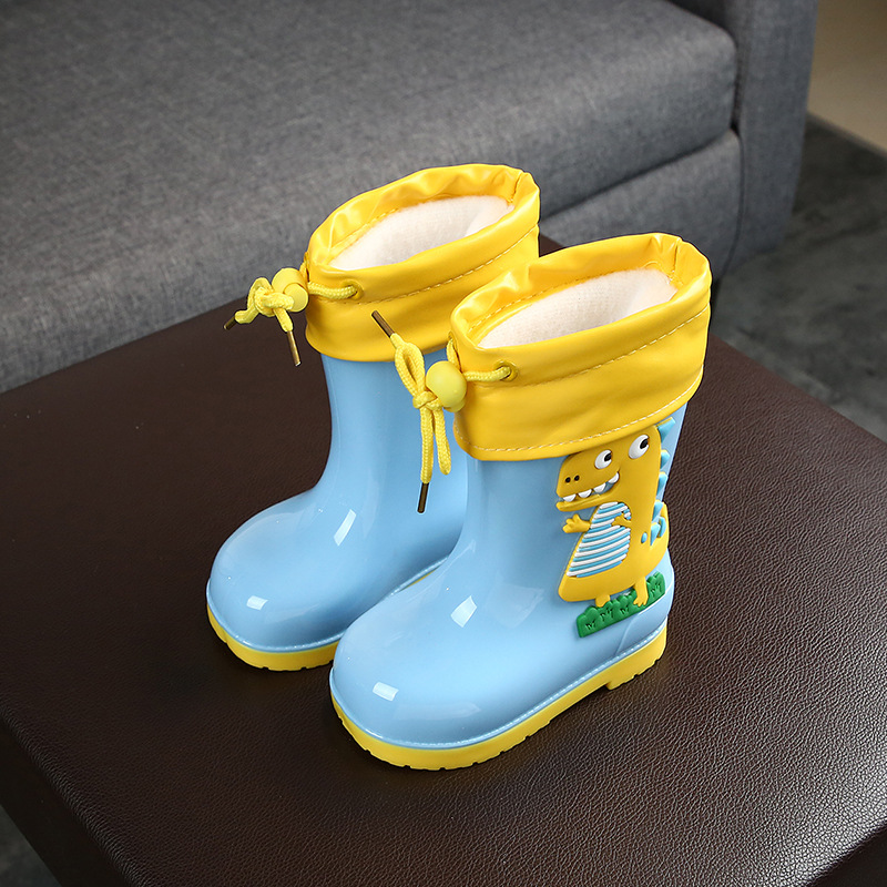 Kids Rain Boots PVC Cartoon Dinosaur Boys Rubber Boots Waterproof Girl Water Shoes Children Rainboot Cotton Removable All Season