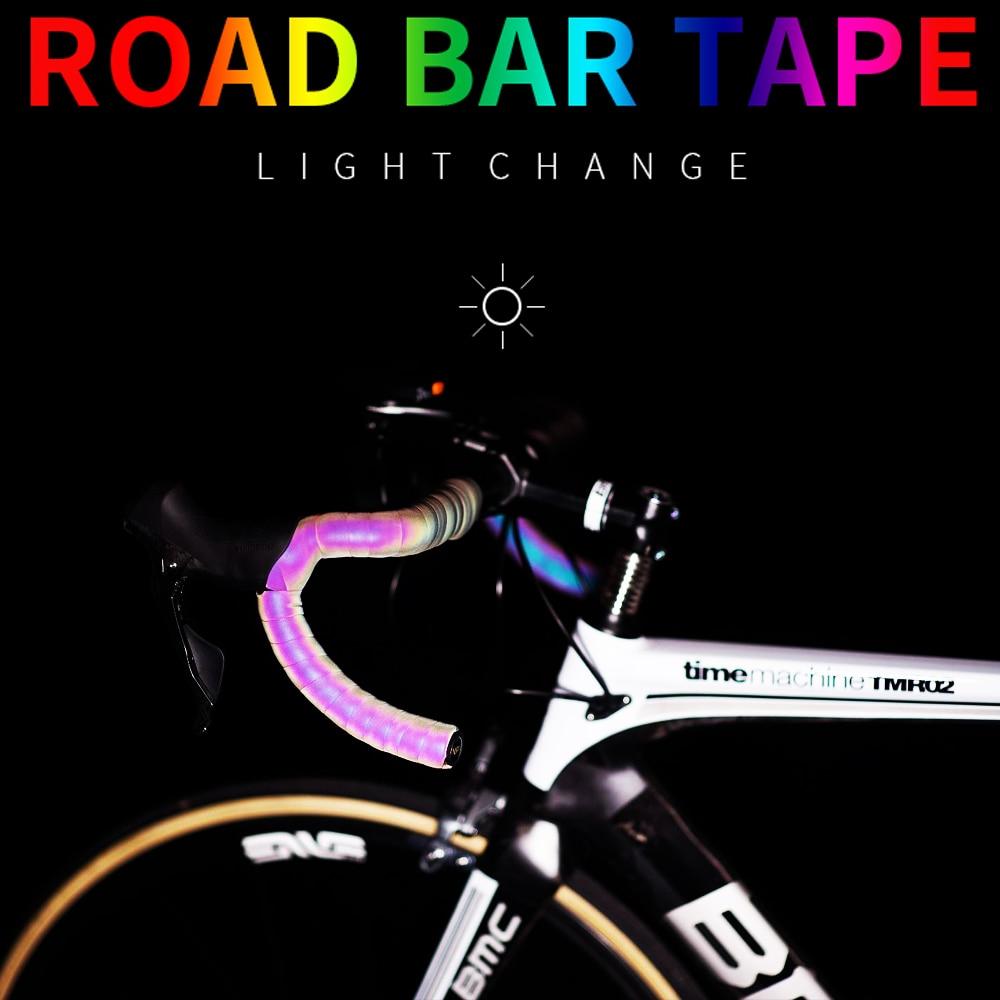 Cycling Bicycle Handlebar Tape Light Reflective Bike Bar Tape Wrap Pu Leather