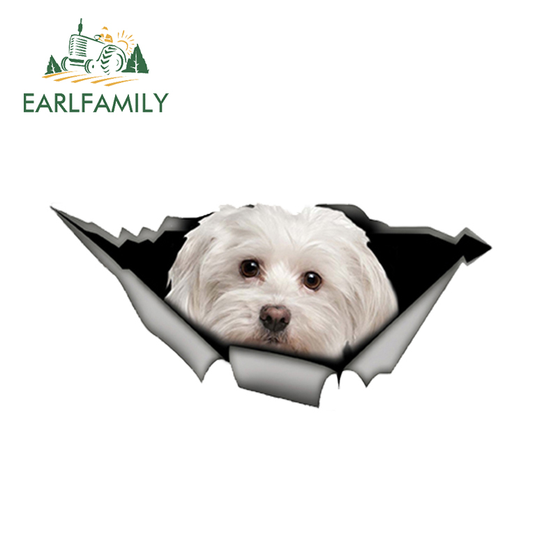 EARLFAMILY 13cm X 6cm Cute Maltese Car Sticker Pet Dog Car Decoration Torn Metal Decal Reflective Sticker Waterproof Car Styling