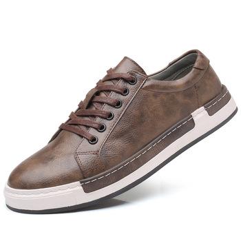 2019 modne nowe męskie buty na co dzień ręcznie robione w stylu Vintage męskie buty luksusowe brązowe buty męskie marki prawdziwej skóry męskie buty rekreacyjne tanie i dobre opinie stan shark Syntetyczny CN (pochodzenie) Przypadkowi buty RUBBER Lace-up Pasuje prawda na wymiar weź swój normalny rozmiar
