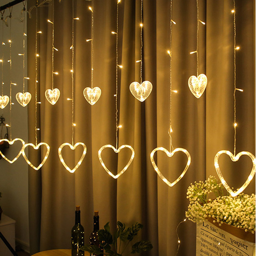 Thrisdar 2.5M Heart Love Window Curtain Fairy String Light Heart-shaped Christmas String Light Wedding Party Fairy Garland Light