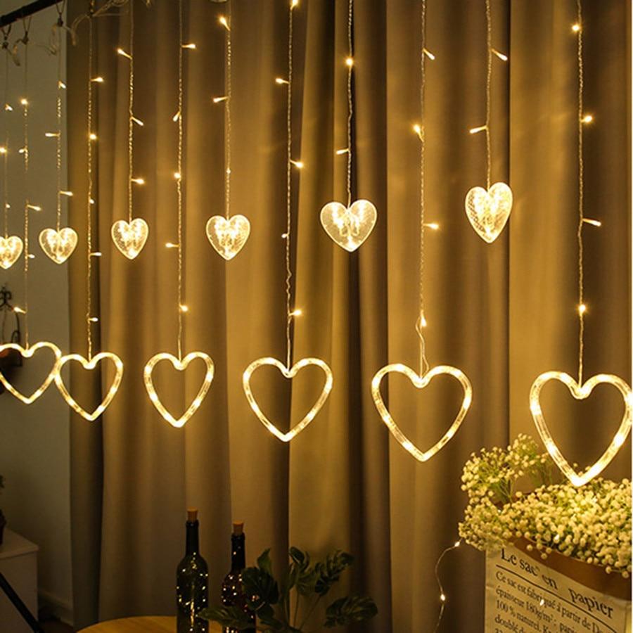 Thrisdar 2.5M Heart Love Window Curtain Fairy String Light Heart-shaped Christmas String Light Wedding Party Fairy Garland Light