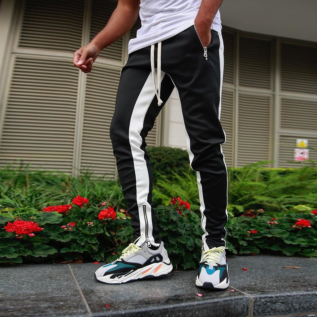Feitong Leisure-Pants Black White Solid-Color Fashionable Leg-Zipper Patchwork Remote title=