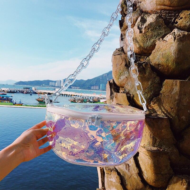 Colorful Chest Bag 2020 Summer New Wave Men And Women Bag Shoulder Diagonal Bag Transparent Acrylic Chain Belt Bag