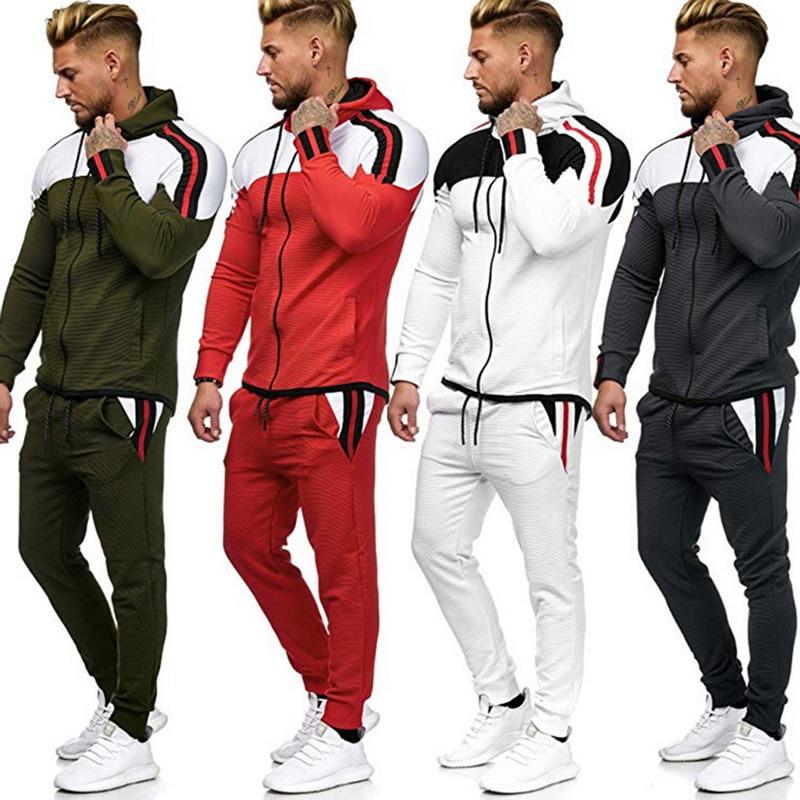 Men Colorblock Sports Suit Two Pieces Set Men's Zipper Hoodie Jacket Sweatshirt Pants Tracksuit Sportswear Outfit