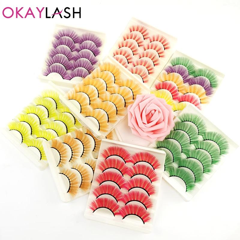 Купить okaylash 5 пар объемных цветных ресниц из искусственной норки