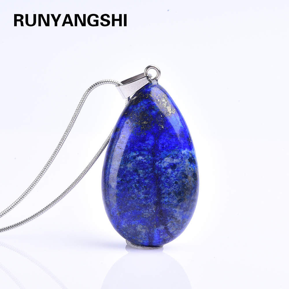 1pc Natural crystal quartz blue Gem Stone Water Drop Necklaces Pendants Lapis Lazuli Reiki Healing stone Jewellery Gift(China)