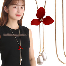 BYSPT Elegant Red  Flower Simulated Pearl Necklaces Vintage Necklace Pendant Charm Women Friend Gift Gifts