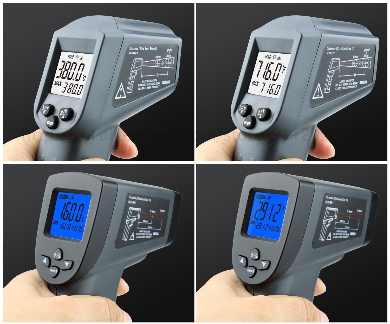 Kaemeasu Digitale Infrarood Thermometer -50 ~ 1600 Meetbereik, Non-contact, Veiligheid, Koken, industriële Elektronische Thermometer Pistool 22