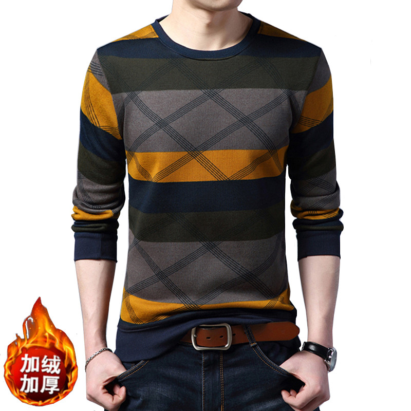 Geometric Patterns Men's Autumn And Winter Pullovers Slim Long Sleeve Cotton Warm Fashion Thick Sweaters In 9 Colors