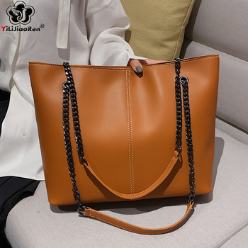 Women Casual Hand Bags Ladies Chain Handbags Famous Brand Large Leather Shoulder Bag Women High Quality Big Tote Bag Sac A Main bullcaptain vintage genuine leather women handbag high quality cowhide casual tote bags famous brand ladies shoulder bag