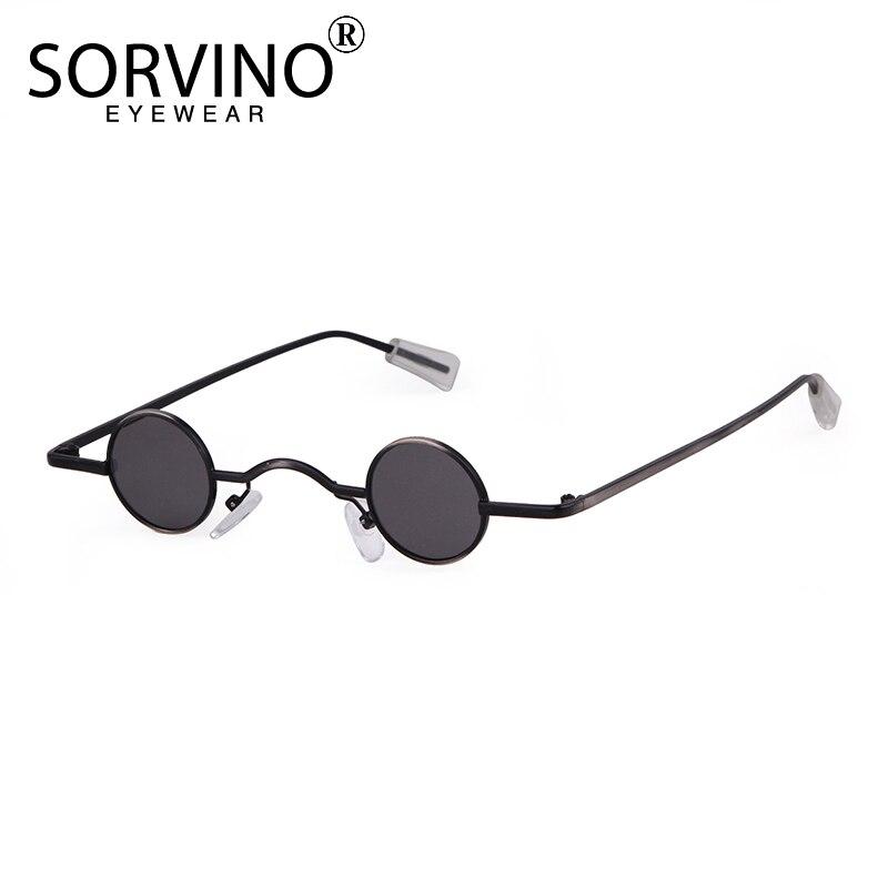 Мужские и женские солнцезащитные очки SORVINO, брендовые дизайнерские маленькие круглые очки в стиле ретро 90S, черные, желтые голографические з...