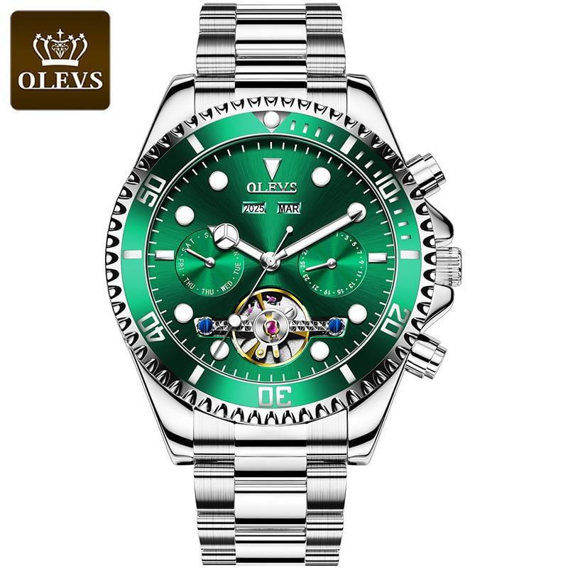 Relógios de Pulso Presentes para o Namorado Olevs Homens Negócios Relógio Mecânico Marca Superior Luxo Aço Inoxidável Masculino