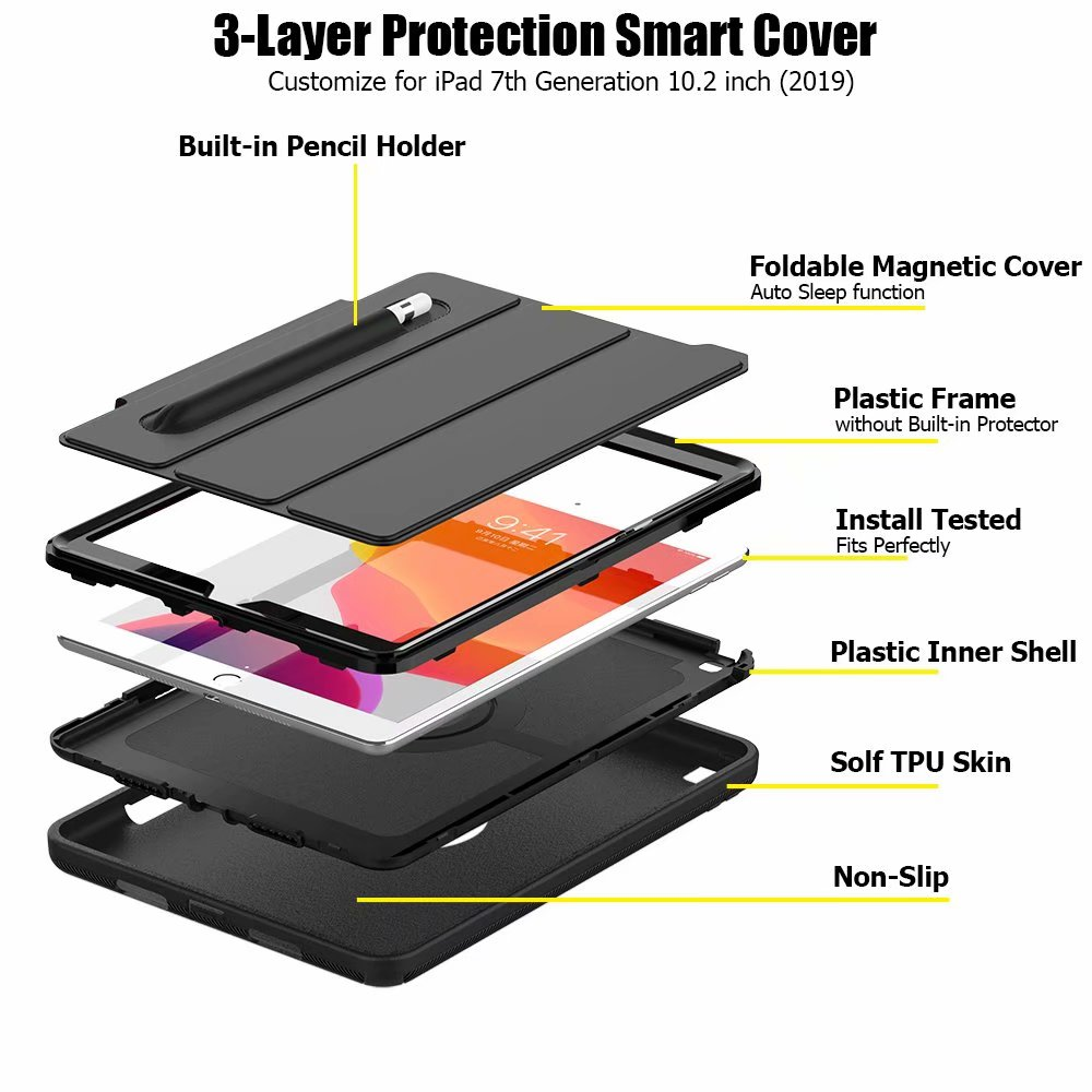 iPad 2019 case smart For 7th generation Armor Case Kickstand ipad 10.2 For Shockproof