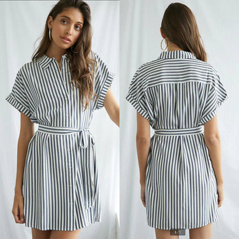 Buttoned Lace-Up Striped Loose Short-Sleeved Dress Turn-Down Collar Striped Print Short Dresses With Sashes Women Summer Dress button up shirred waist striped dress