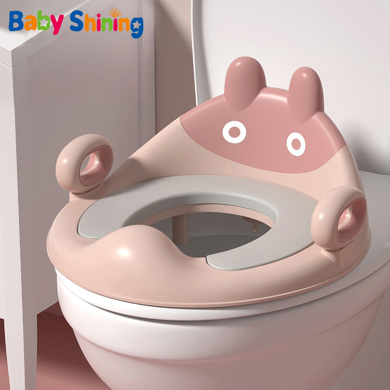 BabyShining Large Baby Toilet Seat Ring Children's Toilet Girl Boy Potty Toilet  Soft Cushion Mat Home Can Be Hung 1-8 Years Old