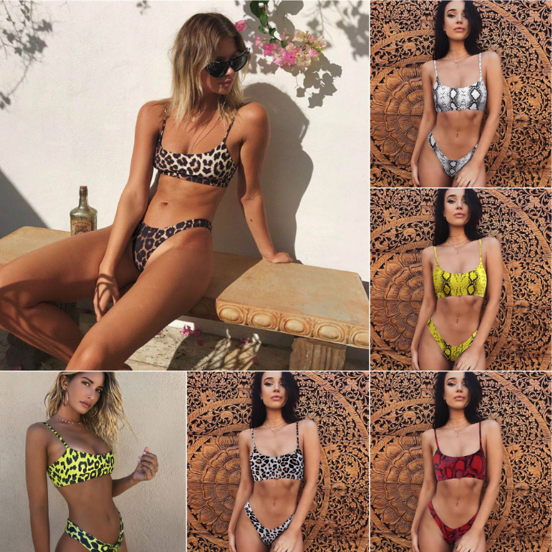 Sexy Bikini Swimwear Women Leopard Serpentine Print Bikinis Two Piece Swimsuit Biquini Solid Swimming Bathing Suit Beach Wear