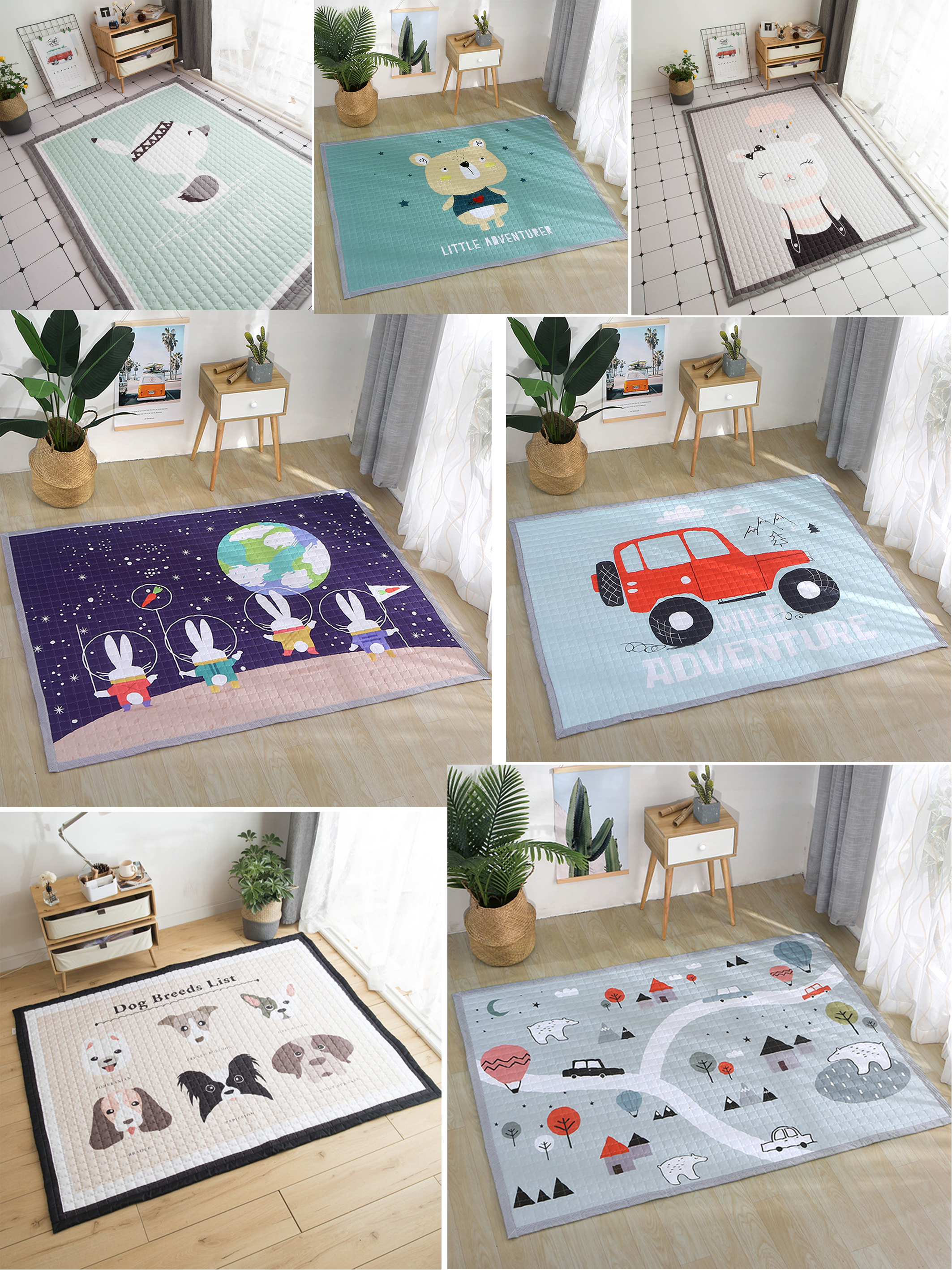 Multiple Styles Animals Cartoon Baby Crawling Play Mat Living Baby Room Kindergarten Thick Game Pad Children's Rug Soft Blanket