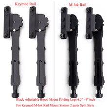 Aplus-montaje bípode ajustable para guardamanos, carril negro con Keymod/m-lok, sistema de montaje, estilo dividido, 2 piezas, patas plegables