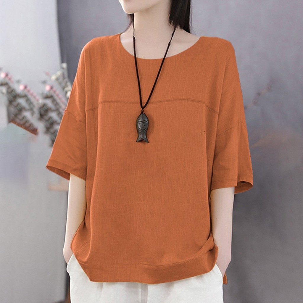 Linen Cotton Tunic Women Summer Casual Solid  Loose Tshirt 1