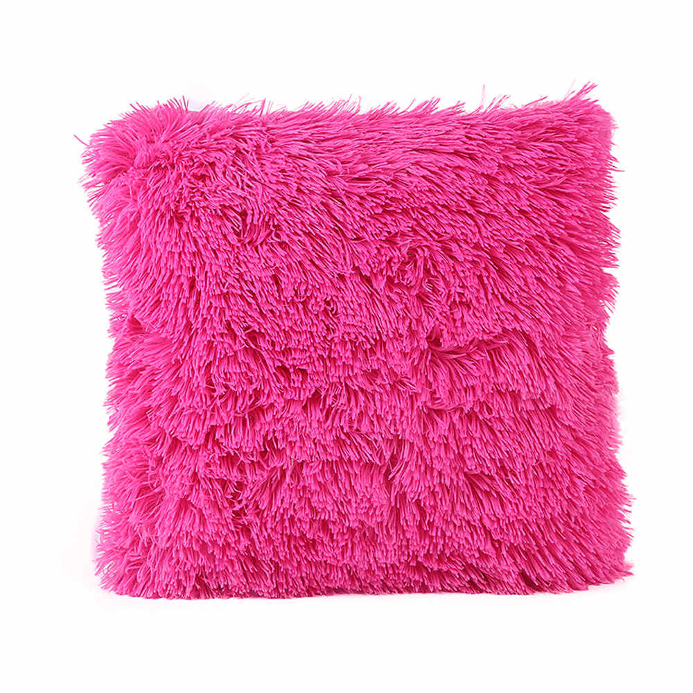 Fluffy Soft Plush Square Pillow Homey Design Comfortable Pillows Case Couch Waist Throw Pillow Cover Home Decorative Pillowcase