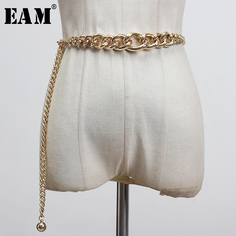 [EAM]  Silver Color Metal Chains Stitch Irregular Long Belt Personality Women New Fashion Tide All-match Spring 2021 1X045