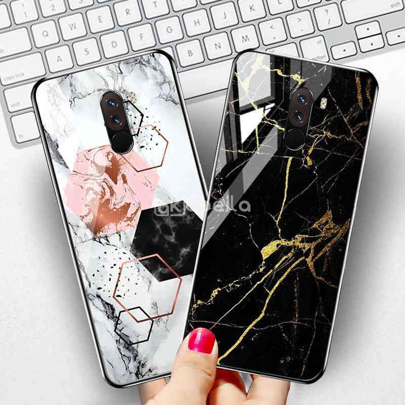 Tempered Glass Case For Xiaomi Pocophone F1 Case Xiomi Poco F2 Pro M2 Redmi Note 8 9 9S 9a Mi 10 9 Lite 9T A3 8 SE Covers Fundas(China)