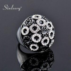 SINLEERY уникальные винтажные круглые черные эмалевые большие кольца с полушариками маленькие круглые кольца с кубическим цирконием для женщи...