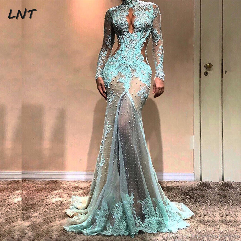 High Neck Long Sleeves Turquoise Prom Dresses With Keyhole Front