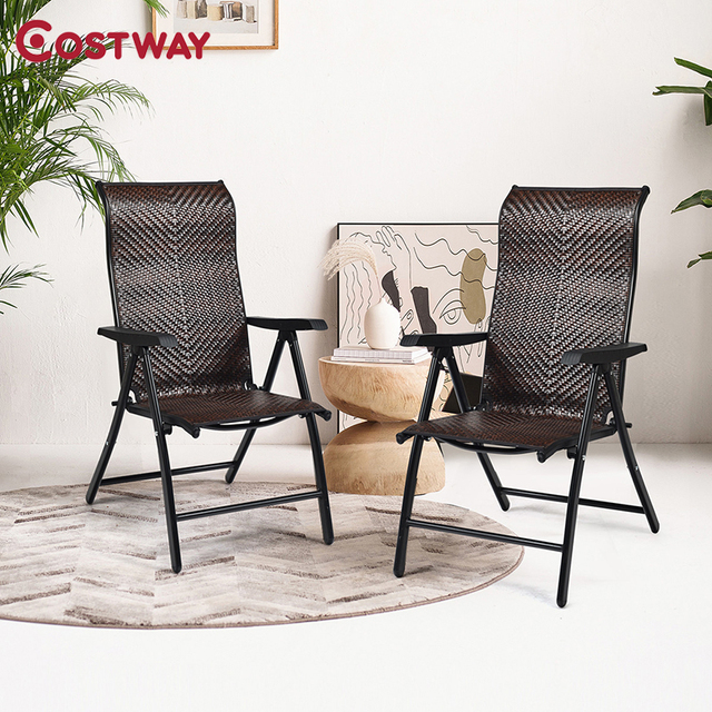 2 Piece Patio Rattan Folding Reclining Chair  1