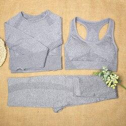 ATHVOTAR Vital Seamless Yoga Set 2/3 Pcs Women Gym Set Sports Bra Long Sleeve Crop Top Running Gym Leggings Fitness Sports Suit