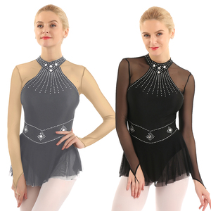 Image 5 - TiaoBug מבריק Rhinestones ארוך שרוול רשת אחוי בלט התעמלות בגד גוף נשים איור החלקה שמלת ביצועי ריקוד תלבושות