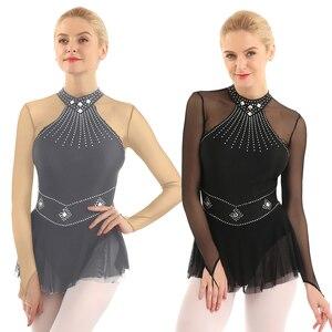 Image 5 - TiaoBug dla dorosłych błyszczące cyrkonie z długim rękawem Mesh Splice balet trykot gimnastyka kobiet łyżwiarstwo figurowe sukienka kostium taneczny
