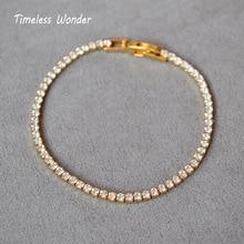 Timeless Wonder Brass Shiny Zirconia Strand Bracelets Women Gothic Snap Jewelry Gift Boho Trendy Hiphop Gold Silver Mix Ins 5128